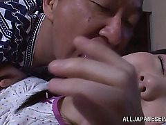 Alluring Chinese teenie cutie Marin Aono gets taunted by crazy older guy while..