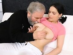 Youthfull playgirl gets enticed by a exhilarated elder fucker