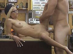 Very slender blond gargles off and nailed by pawnshop proprietor
