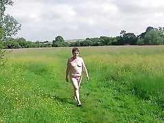 My Horny Nude Walk Across an Open Field