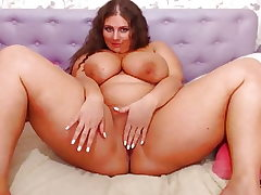 Obese Webcam Girl with Ginormous Bosoms Juggling (no sound)